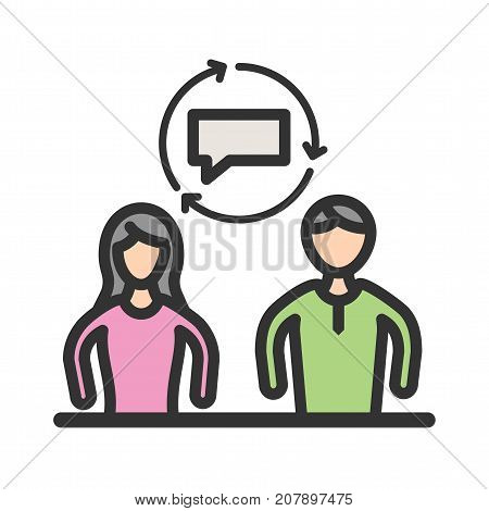 Mentoring, coaching, business icon vector image. Can also be used for soft skills. Suitable for mobile apps, web apps and print media.