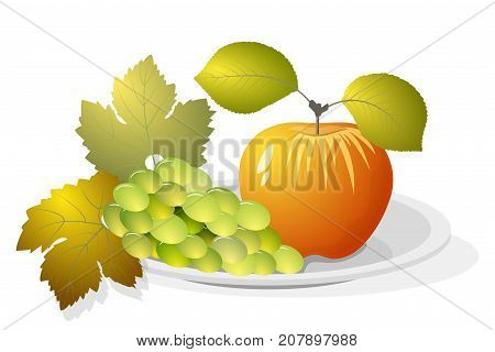 Still life, a bunch of grapes and an apple with leaves on a plate isolated on white background. Vector illustration