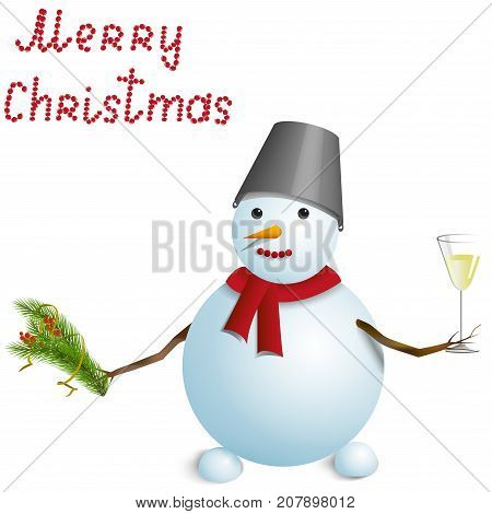 Christmas greeting card, snowman with a wineglass of champagne, isolated on white background. Vector illustration