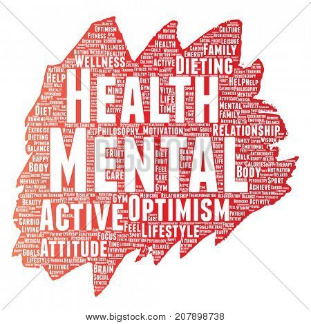 Conceptual mental health or positive thinking paint brush word cloud isolated background. Collage of optimism, psychology, mind healthcare, thinking, attitude balance or motivation text