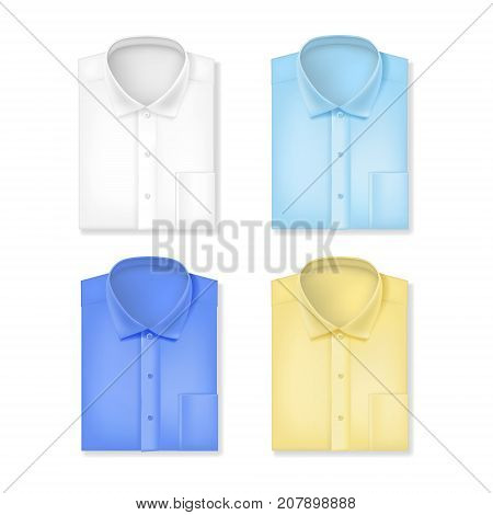 Realistic 3d Classic Male Shirts Set Textile Fashion Garment for Business Shopping Element Style. Vector illustration of Shirt for Man