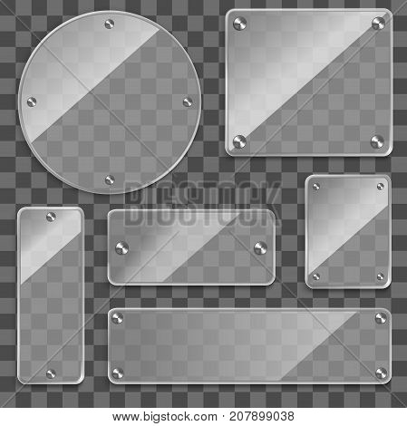 Realistic 3d Various Glass Frames on a Transparent Background Rectangle, Square and Round Framework for Advertisement. Vector illustration of Glassy Frame