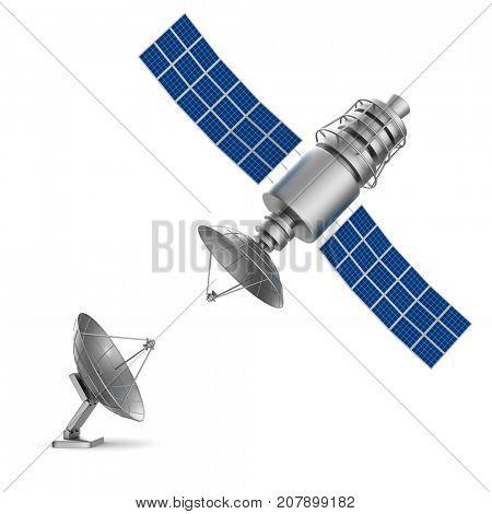 satellite on white background. Isolated 3D illustration