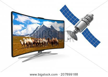 TV and satellite on white background. Isolated 3D illustration