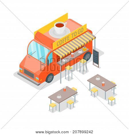 Street Cafe Food Truck Isometric View Coffee To Go Concept Web Design Style Cappuccino, Espresso, Latte or Mocha Beverage. Vector illustration of Van Fastfood