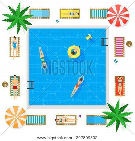 Pool with Blue Water Summer Vacation Concept Top View Include of Sunbed, People, Parasols and Palms. Vector illustration of Basin
