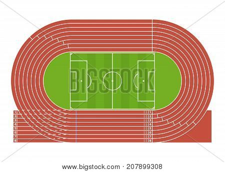 Cartoon Running Track Stadium Competition Sport Concept Flat Design Style. Vector illustration of Arena Field Racetrack for Run