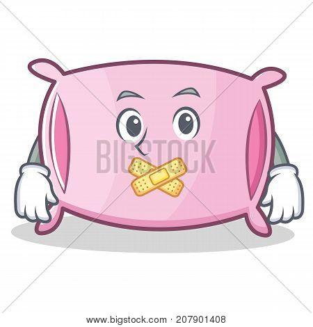 Silent pillow character cartoon style vector illustration