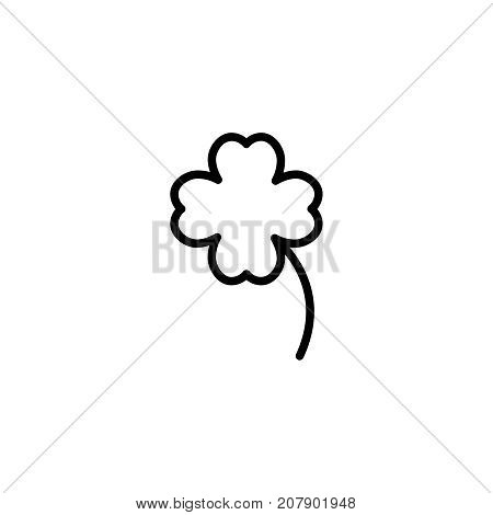 Clover flat icon. Single high quality outline symbol of gambling for web design or mobile app. Thin line signs of casino for design logo, visit card, etc. Outline logo of lottery.