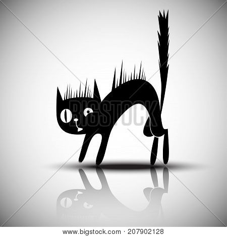 Vector black silhouette of angry, frightened cat.