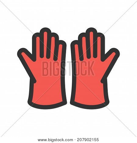 Cleaning, gloves, rubber icon vector image. Can also be used for Cleaning Services. Suitable for mobile apps, web apps and print media.