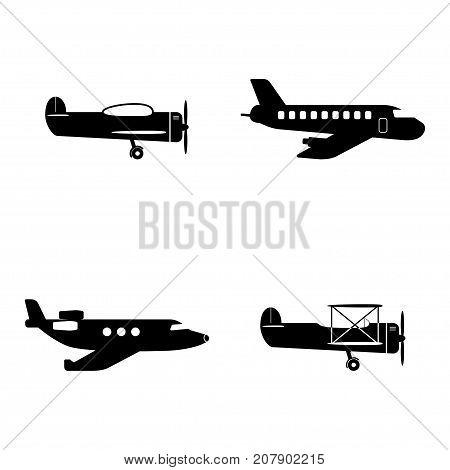 Plane, flight icons set, aircraft in four various era