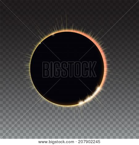 Solar eclipse - full sun eclipse. Bright light rays on black backdrop. The planet covering the Sun in eclipse. Glow light effect. Isolated on transparent background.