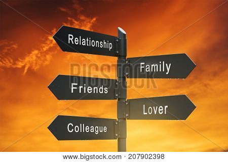 Relationships signpost , with sunrise sky backgrounds