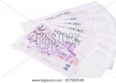 Singapore Banknotes Dollars (2 Sgd) Isolated On White Background