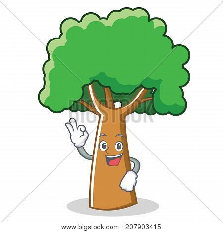 Okay tree character cartoon style vector illustration