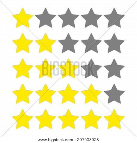 Vector star rate with shadow for web design. Rating