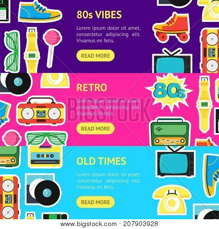 Cartoon Eighties Style Symbol Banner Horizontal Set Retro Concept of Audio Tape, Phone and Shoe Accessory Hipsters. Vector illustration