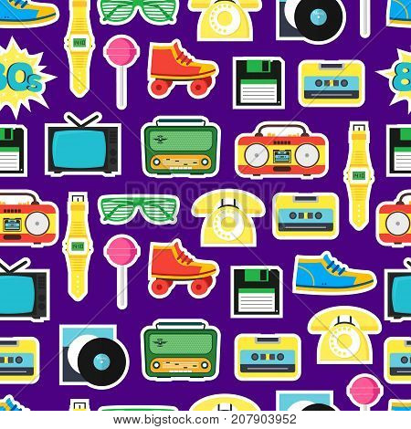 Cartoon Eighties Style Symbol Background Pattern Retro Concept of Audio Tape, Phone and Shoe Accessory Hipsters. Vector illustration