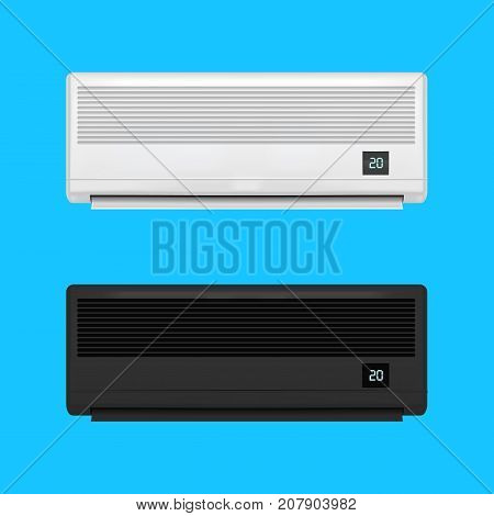 Realistic Detailed Air Conditioner Set on a Blue Background Symbol of Comfort. Climate Control for House Vector illustration