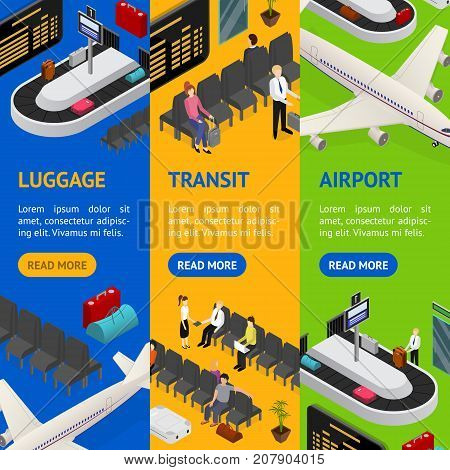 Airport Zone Luggage Baggage Reclaim Interior and Transit Banner Vecrtical Set Isometric View. Vector illustration