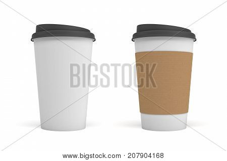 3d rendering of two white paper coffee cups with black lids, one clear white and white with a brown stripe. Takeaway coffee. Coffee shop. Morning drink.