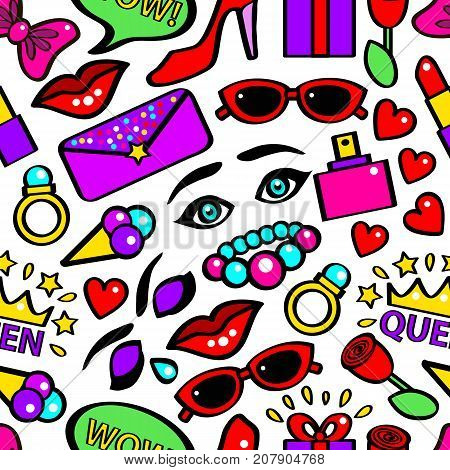 Pop Art Girlish Fashion Sticker Background Pattern on a White Comic Style Element Speech Bubbles, Lipstick, Rose and Aroma. Vector illustration
