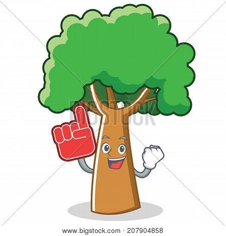 Foam finger tree character cartoon style vector illustration