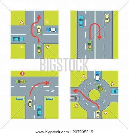 Traffic Conditions Scheme with Car and Arrow Set for City Top View Wrong Maneuver. Vector illustration