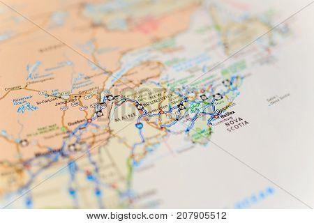 Vinnitsa Ukraine - August 25 2017: map of nova scotia