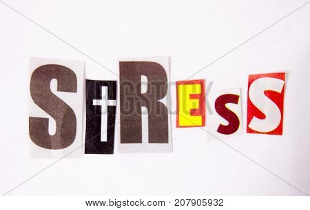 The writing Stress word made of magazine diffrent letters health concept