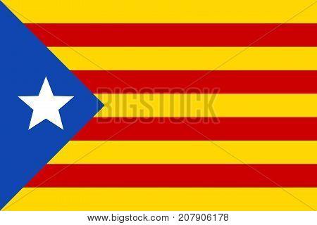 Informal flag of Catalan lands blue estelada vector