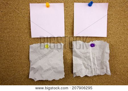 Top view of colorful sticky note papers isolated on white with copy space. Businnes concept