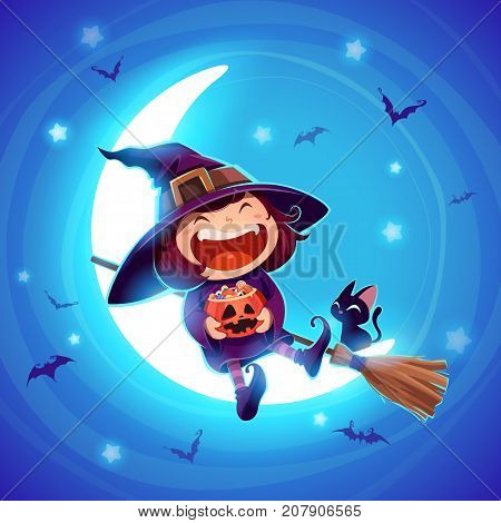 Happy Halloween. Halloween little witch. Girl kid in halloween costume sits on the moon. Retro vintage. Blue background.