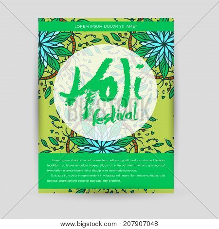 Vector mandala Holi. Happy Holi festival greeting card design with Mandala. Oriental pattern illustration. Islam, Arabic Indian turkish