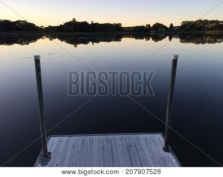 Calm Lakeside Pier Water Dock Horizon Lake