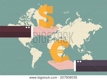 Currency exchange Euro and Dollar with world map background. Business concept