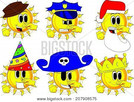Cartoon sun with symphaty. Collection with costume. Expressions vector set.