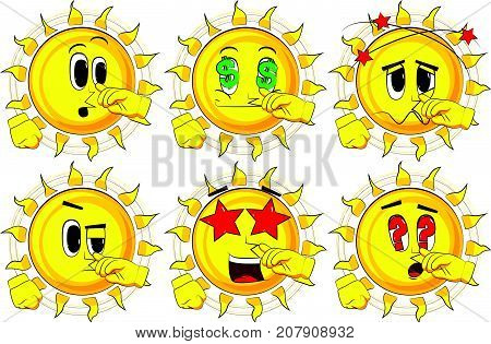 Cartoon sun with symphaty. Collection with various facial expressions. Vector set.