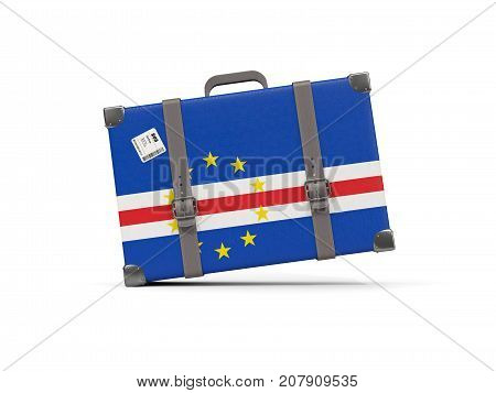 Luggage With Flag Of Cape Verde. Suitcase Isolated On White