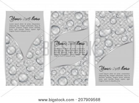 A set of vertical banners with translucent dew on a transparent backdrop. Vector background with water drops for decorating greetings.