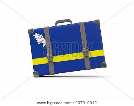 Luggage With Flag Of Curacao. Suitcase Isolated On White