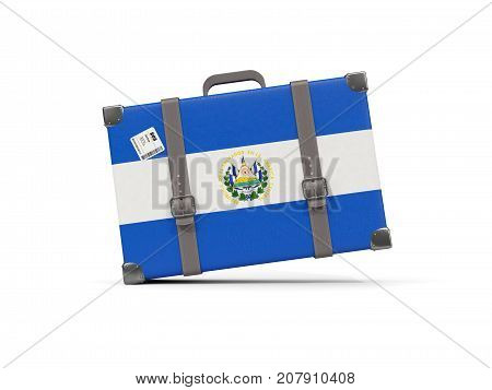 Luggage With Flag Of El Salvador. Suitcase Isolated On White
