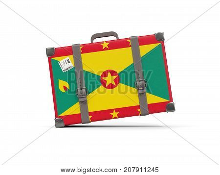 Luggage With Flag Of Grenada. Suitcase Isolated On White