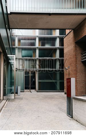 Madrid, Spain - September 30, 2017: The Regional Archive of Madrid is located in the old beer factory 'El Aguila', which also houses the Regional Library Joaquin Leguina