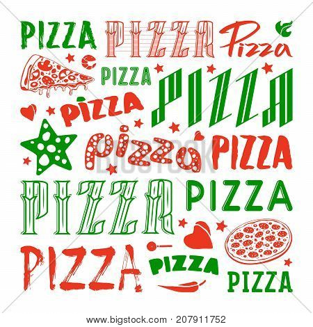 Stock vector set of typographic pizza logo and cover for boxes. Color print on white background