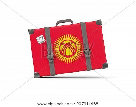 Luggage With Flag Of Kyrgyzstan. Suitcase Isolated On White