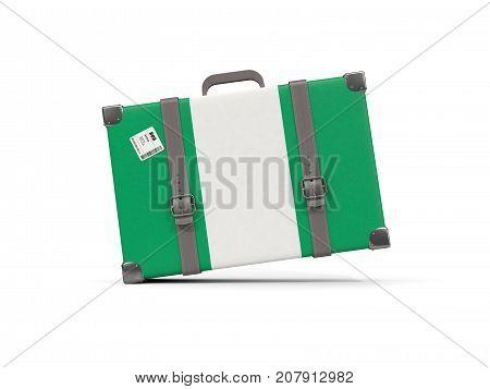 Luggage With Flag Of Nigeria. Suitcase Isolated On White