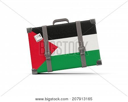 Luggage With Flag Of Palestinian Territory. Suitcase Isolated On White