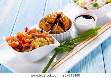 Chicken meat with rice and vegetable